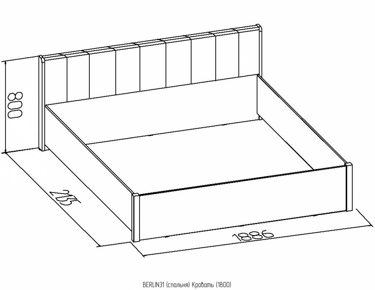 BERLIN31+31.2 Кровать (1800) в комплекте с основанием и подъемным механизмом (1800)
