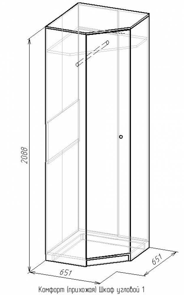 Шкаф угловой 1 Комфорт, Сонома