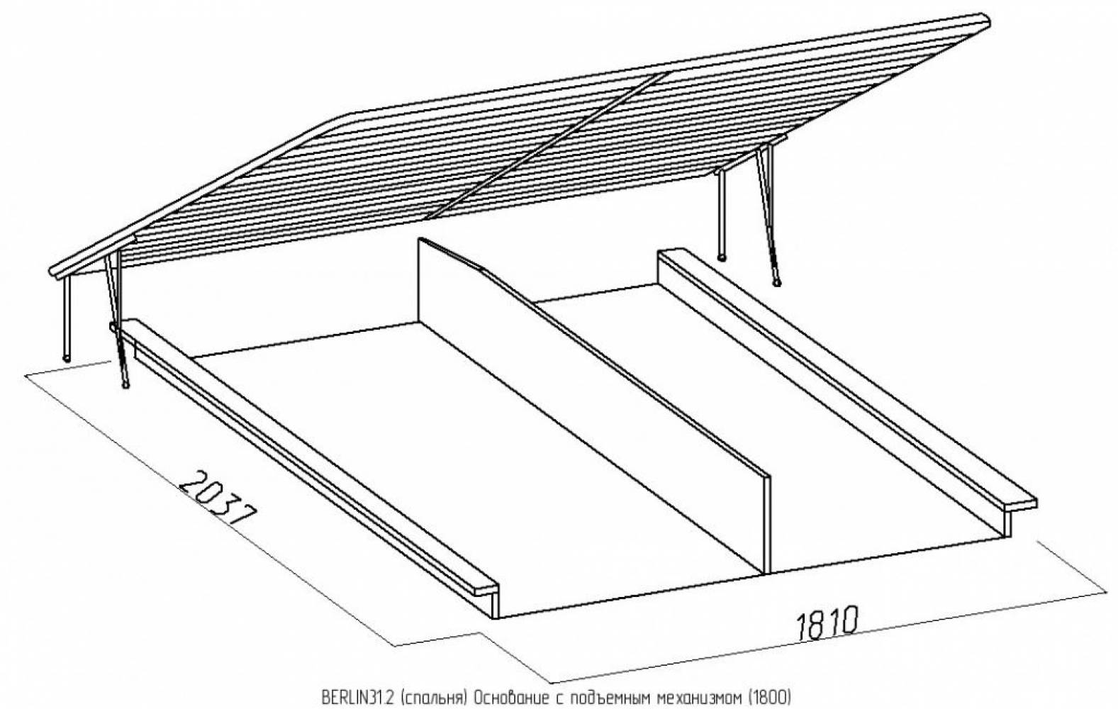 BERLIN31 Кровать (1800) + BERLIN31.2 Основание с подъемным механизмом (1800), Сонома