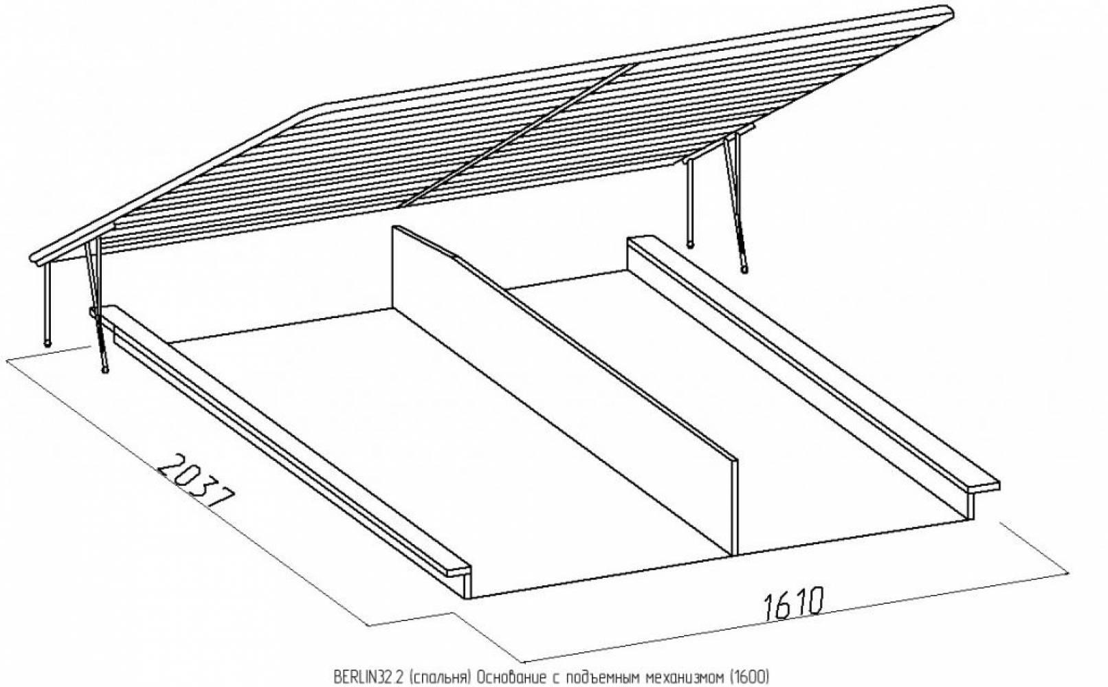 BERLIN32 Кровать (1600) + BERLIN32.2 Основание с подъемным механизмом (1600), Сонома