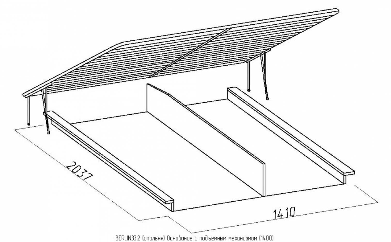BERLIN33 Кровать (1400) + BERLIN33.2 Основание с подъемным механизмом (1400), Сонома