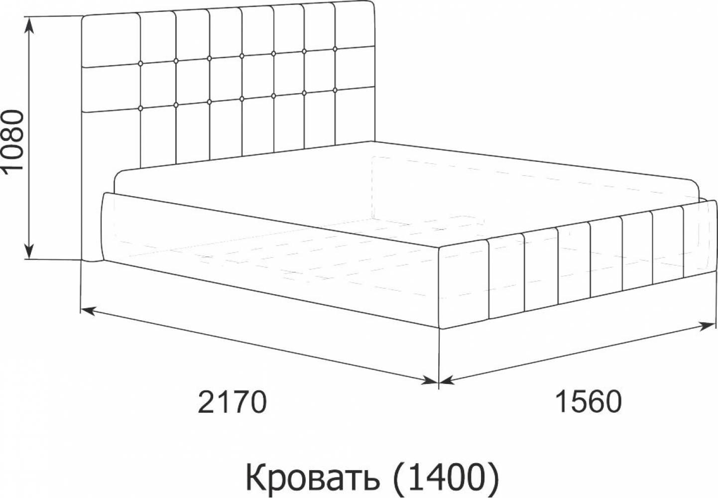 Кровать Лорена 140*200 с под. механизмом и ящиком для белья (без страз)