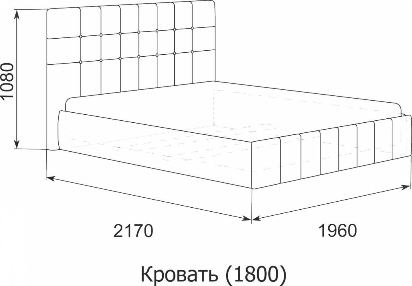Кровать Лорена 180*200 с под. механизмом и ящиком для белья (без страз), Экокожа Boom cream