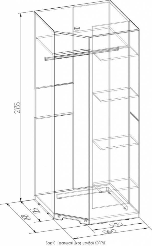 Бриз 10 Шкаф угловой, дверь Зеркало