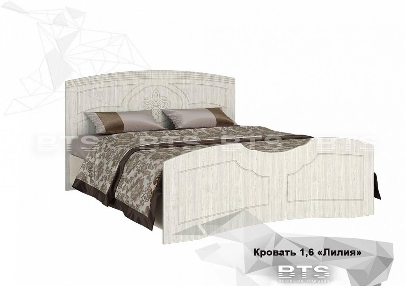 Кровать на 160 с настилом, без матраса Лилия