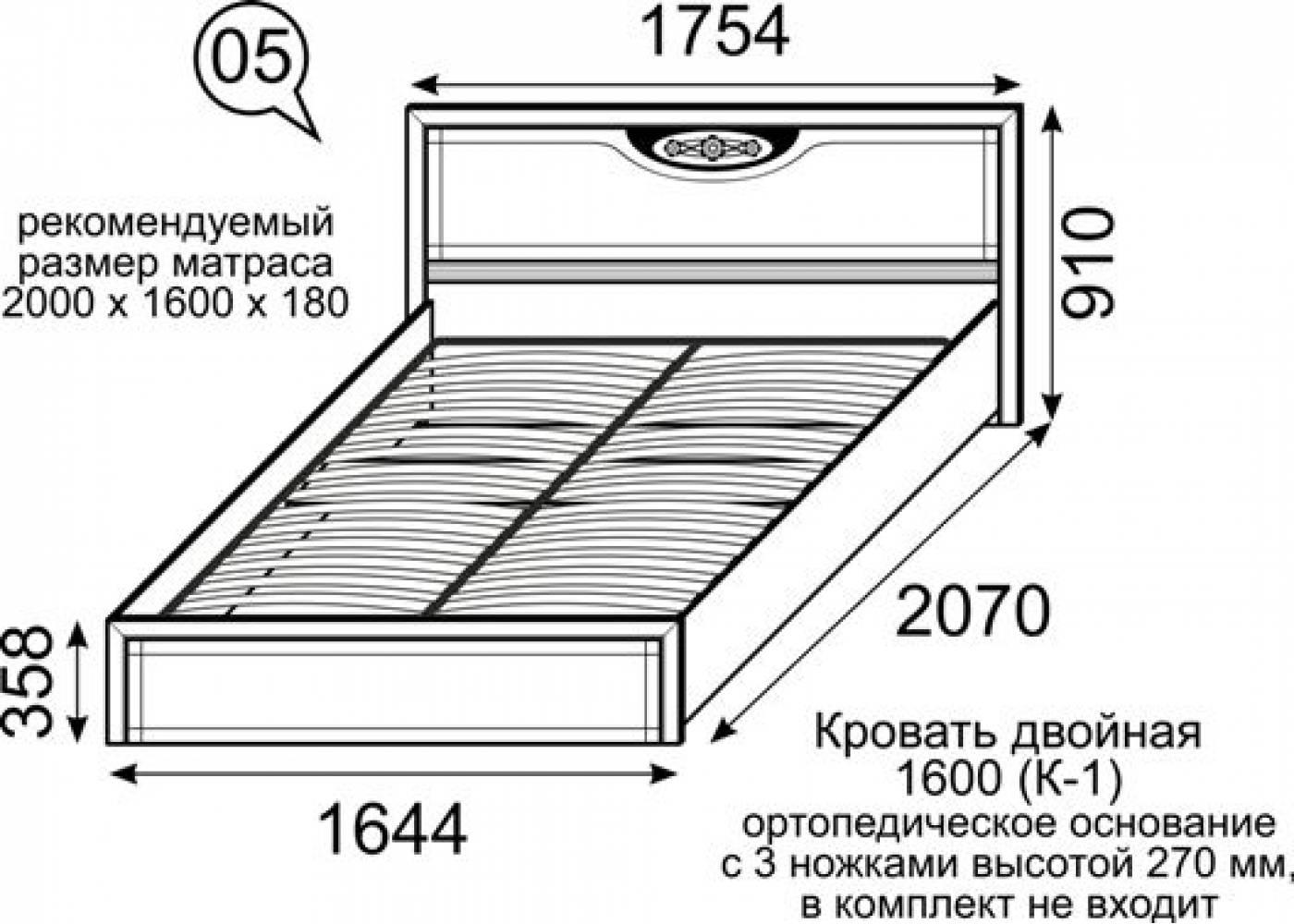 5 Кровать двойная 1600 (К-1) без ортопеда, без матраса Лондон