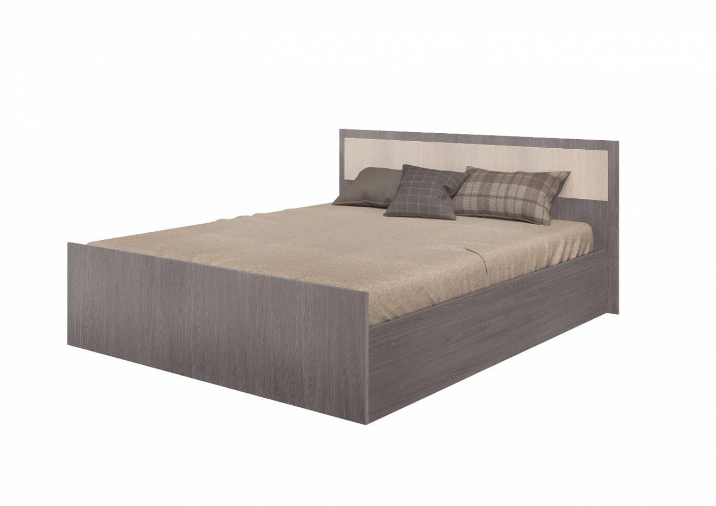 Кровать на 1600 с проложкой ДСП  матраса Фиеста, ясень