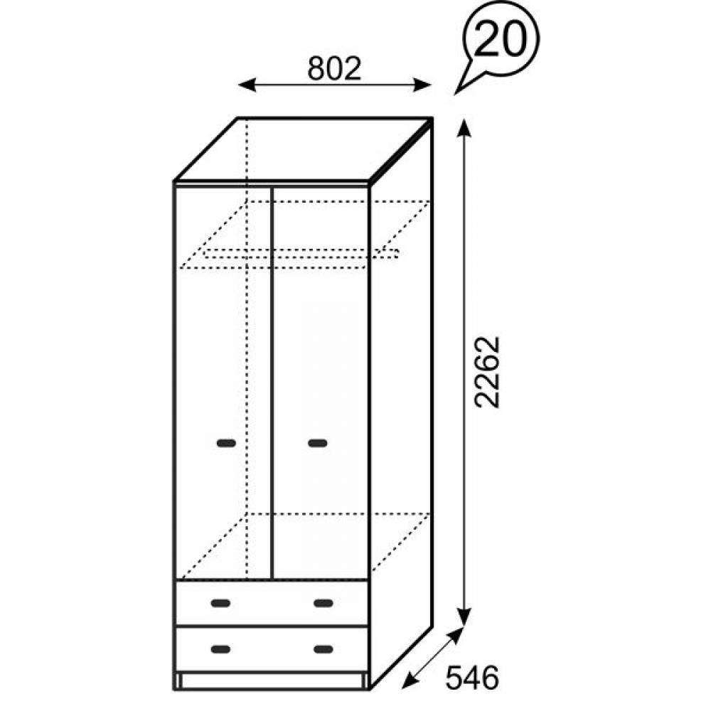 20 Квест Шкаф для одежды с ящиками