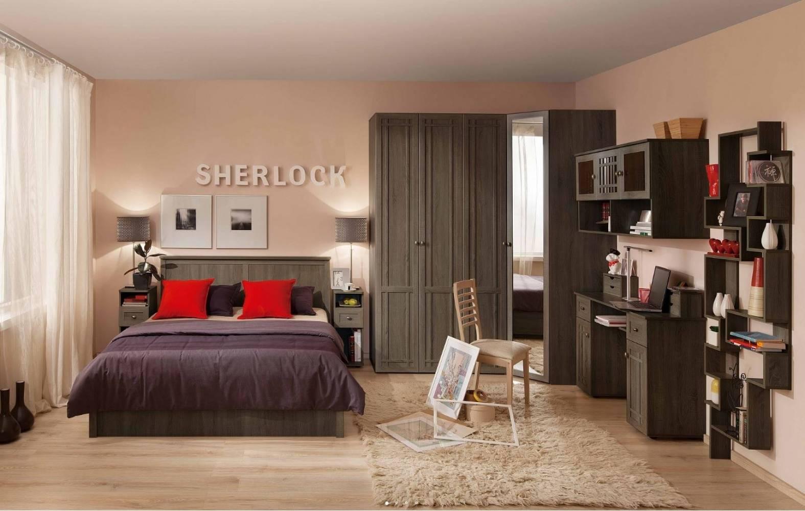 Спальня SHERLOCK, Ясень Анкор темный. Комплект 1