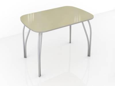 Стол обеденный 600 со стеклом Лотос (Лакобель ваниль)
