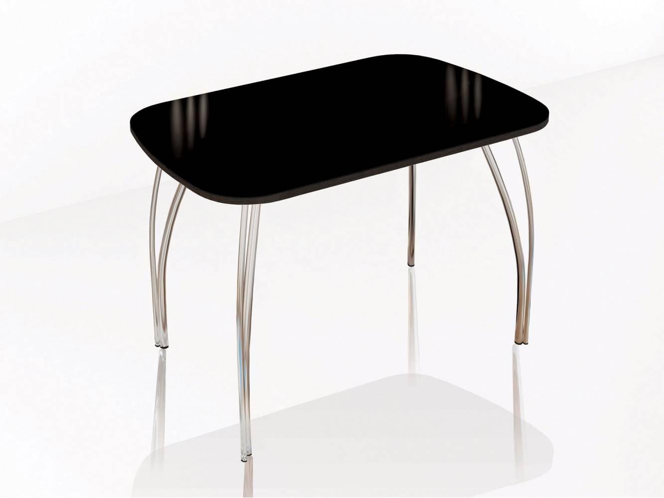 Стол обеденный 600 со стеклом Лотос (Лакобель черный)