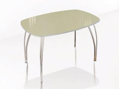 Стол обеденный 700 со стеклом Лотос (Лакобель ваниль)