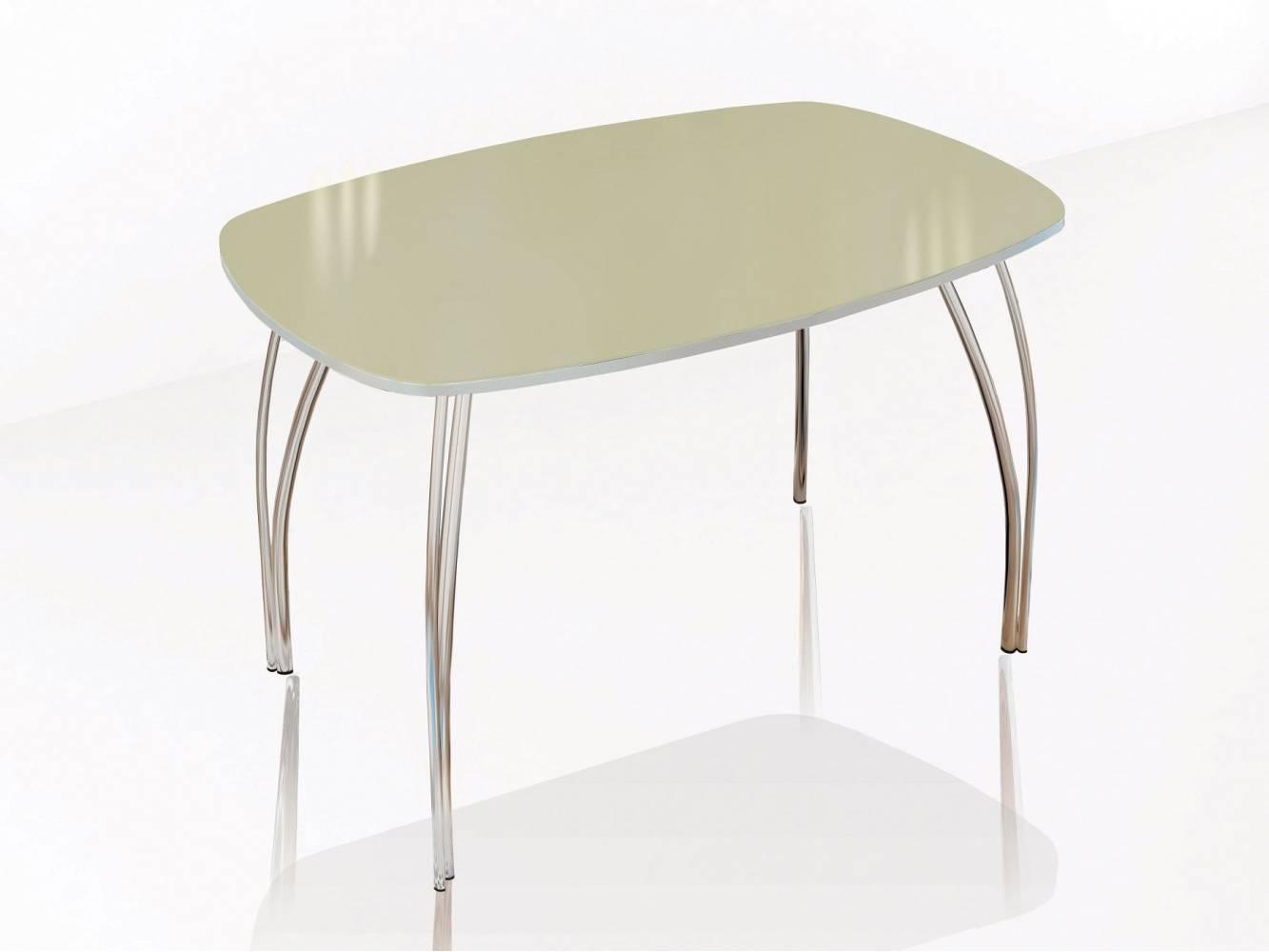 Стол обеденный 800 со стеклом Лотос (Лакобель ваниль)