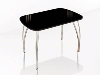 Стол обеденный 800 со стеклом Лотос (Лакобель черный)