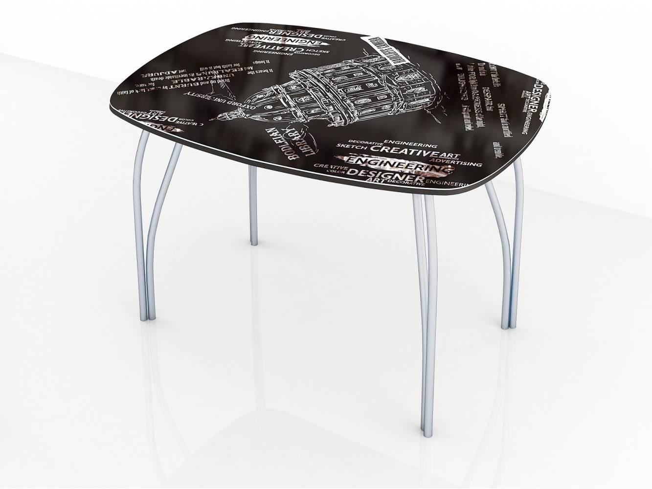 Стол обеденный 600 со стеклом Лотос (Фотопечать на выбор)
