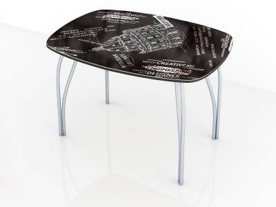 Стол обеденный 800 со стеклом Лотос (Фотопечать на выбор)