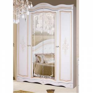 Шкаф для одежды 4Д Графиня КМК 0523 (Белый металлик+золото)