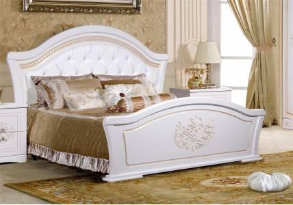 Кровать Графиня с ножным щитом КМК 0379.10 (Белый металлик+золото)