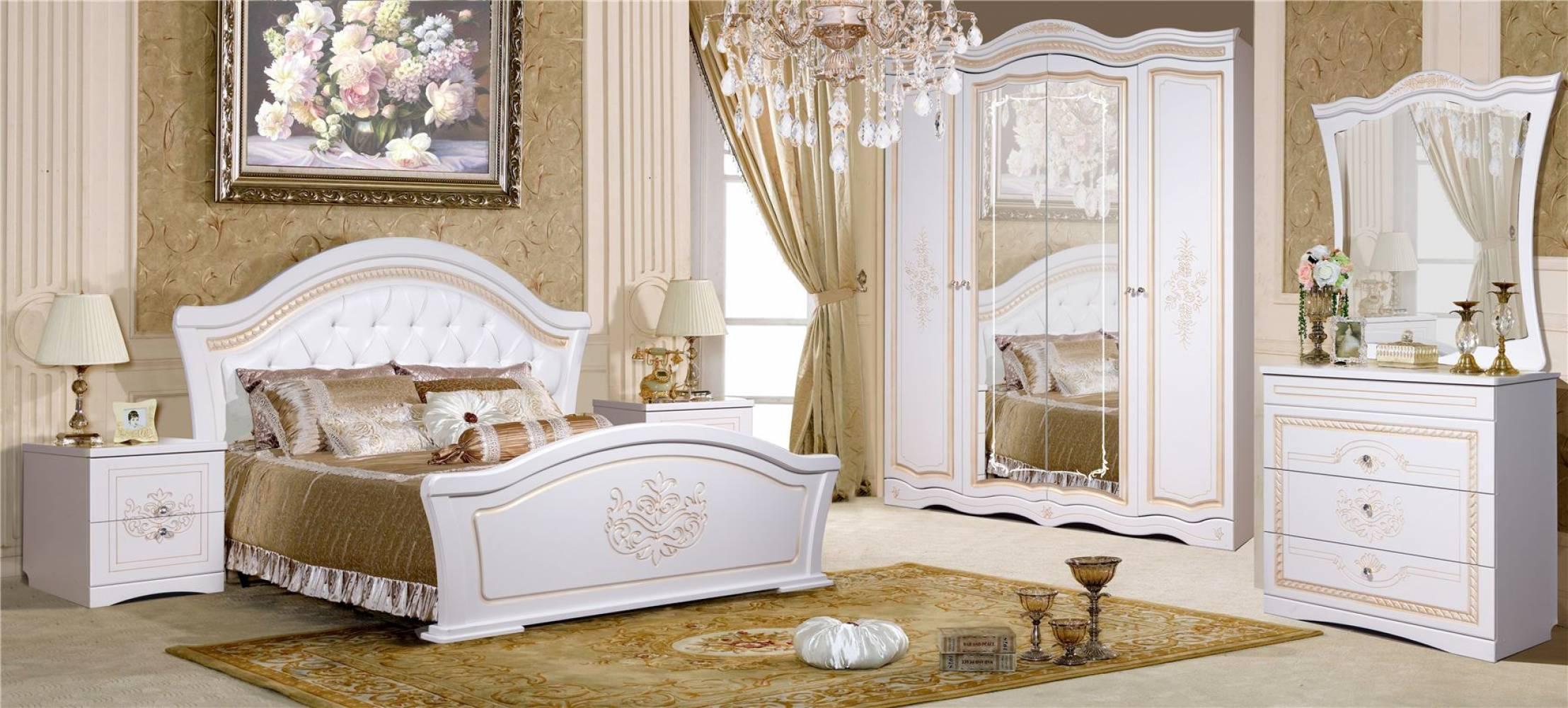 Спальня Графиня КМК 0479 (Белый металлик+золото)