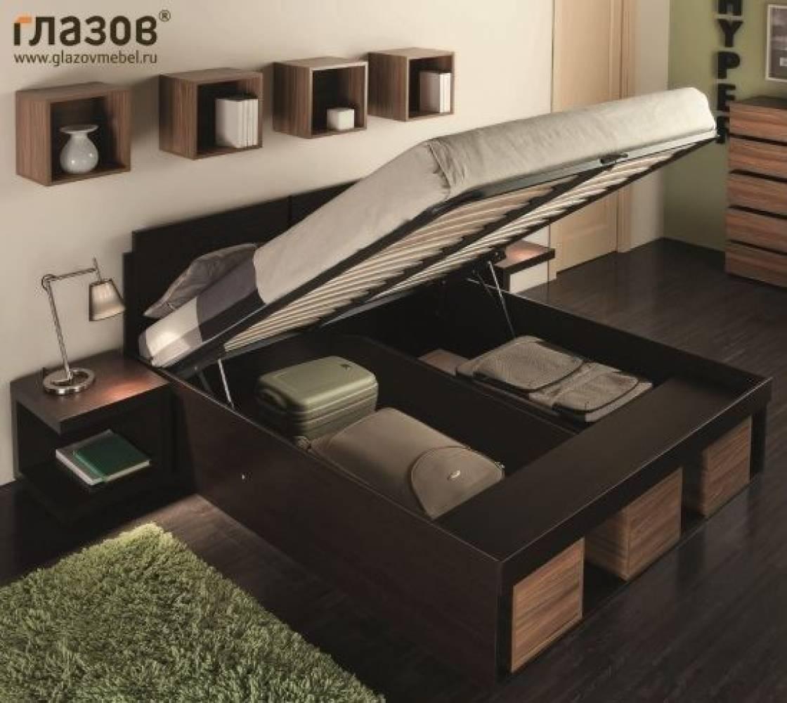 Кровать2 Hyper 160*200 с подъемным механизмом (Венге/палисандр)