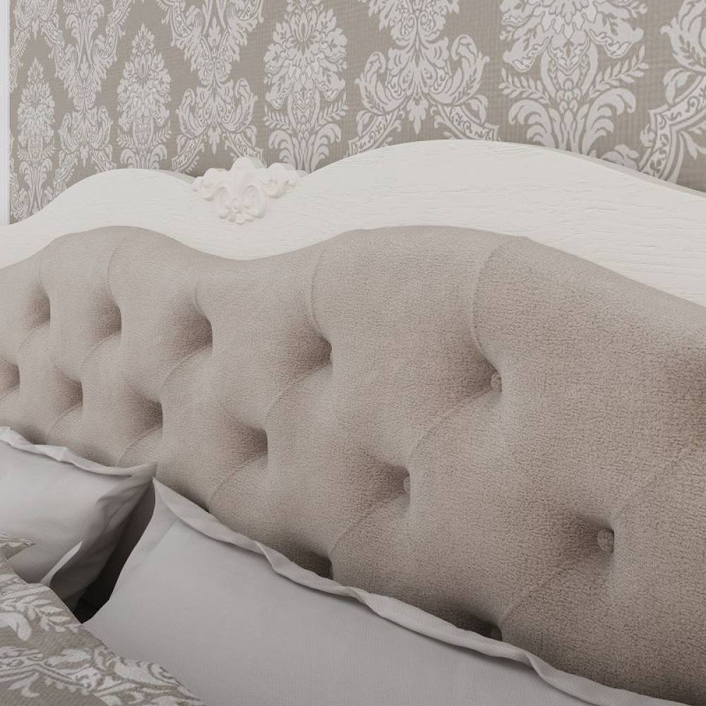 Элен мод № 2.3 кровать с мягкой спинкой 1,6 б/о, б/м  (Перламутр/Дуб фактурный)