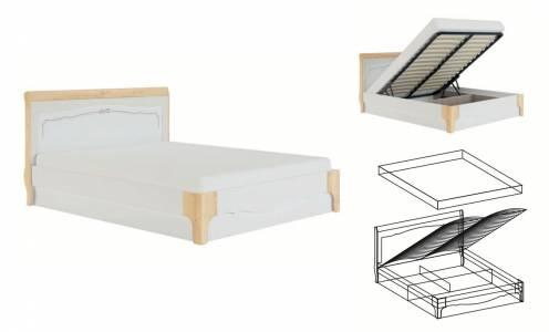 Элен мод № 1.3 кровать 1,6 с ПМ, б/м (Перламутр/Дуб фактурный)