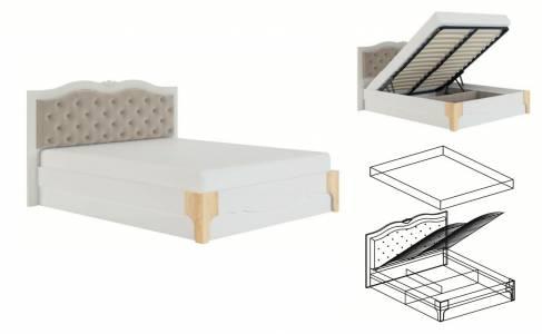 Элен мод № 2.2 кровать с мягкой спинкой 1,4 с ПМ, б/м (Перламутр/Дуб фактурный)