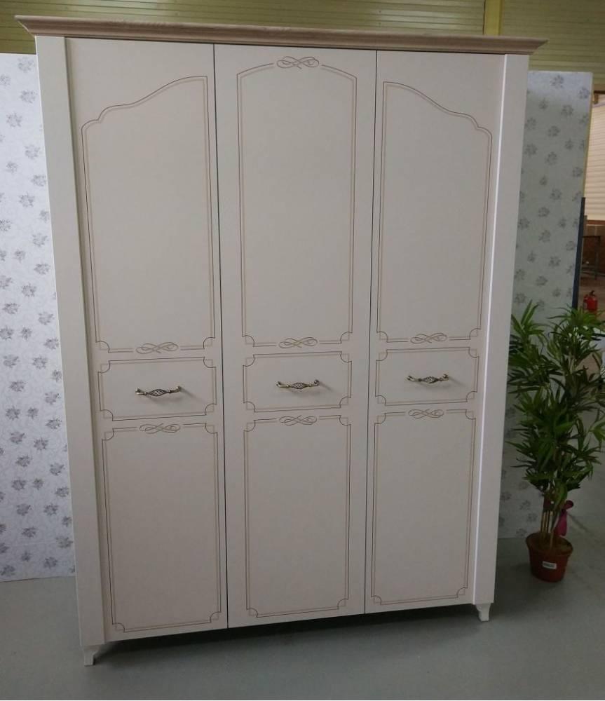 Элен мод № 7 шкаф трехдверный (Перламутр/Дуб фактурный)