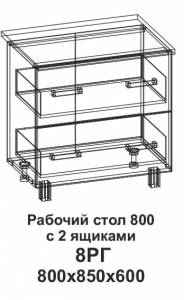 8РГ Рабочий сто 800 горизонтальный с 2 ящиками