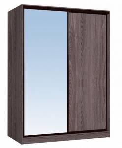 Шкаф-купе 1600 Домашний зеркало/лдсп + шлегель, Ясень Анкор темный
