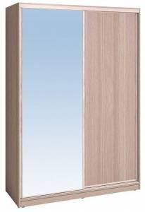 Шкаф-купе 1600 Домашний зеркало/лдсп + шлегель, Ясень шимо светлый