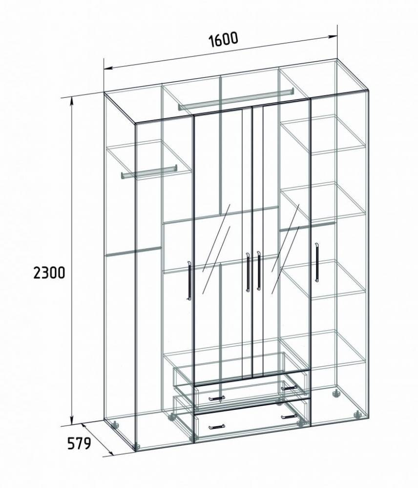 Монако 555 (спальня) Шкаф для одежды и белья Стандарт, Atelier светлый