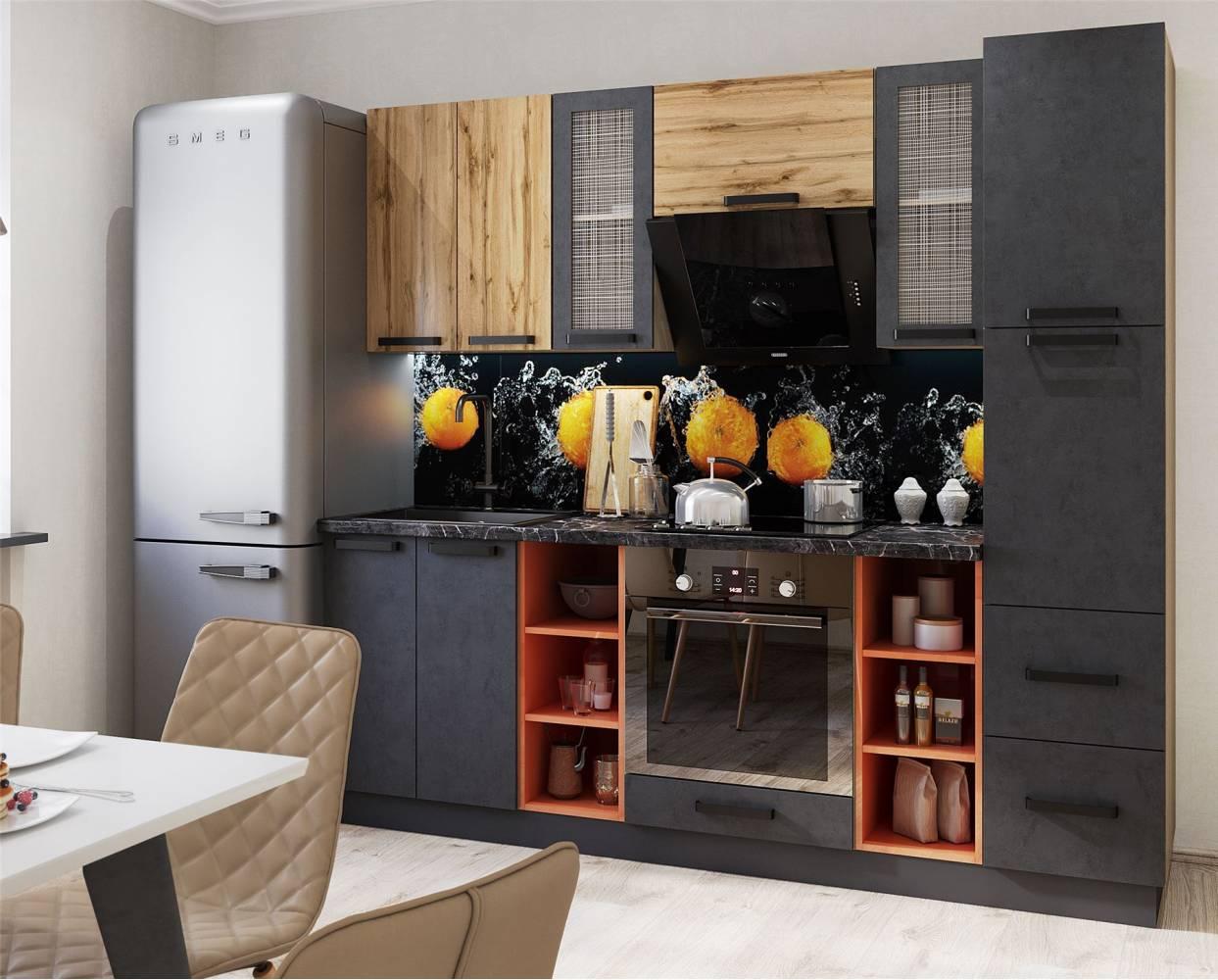 Кухня Крафт, комплект 4, бетон/дуб вотан