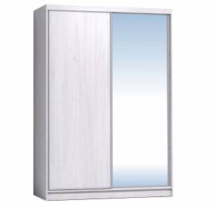 Шкаф-купе 1600 Домашний зеркало/лдсп + шлегель, Ясень Анкор светлый