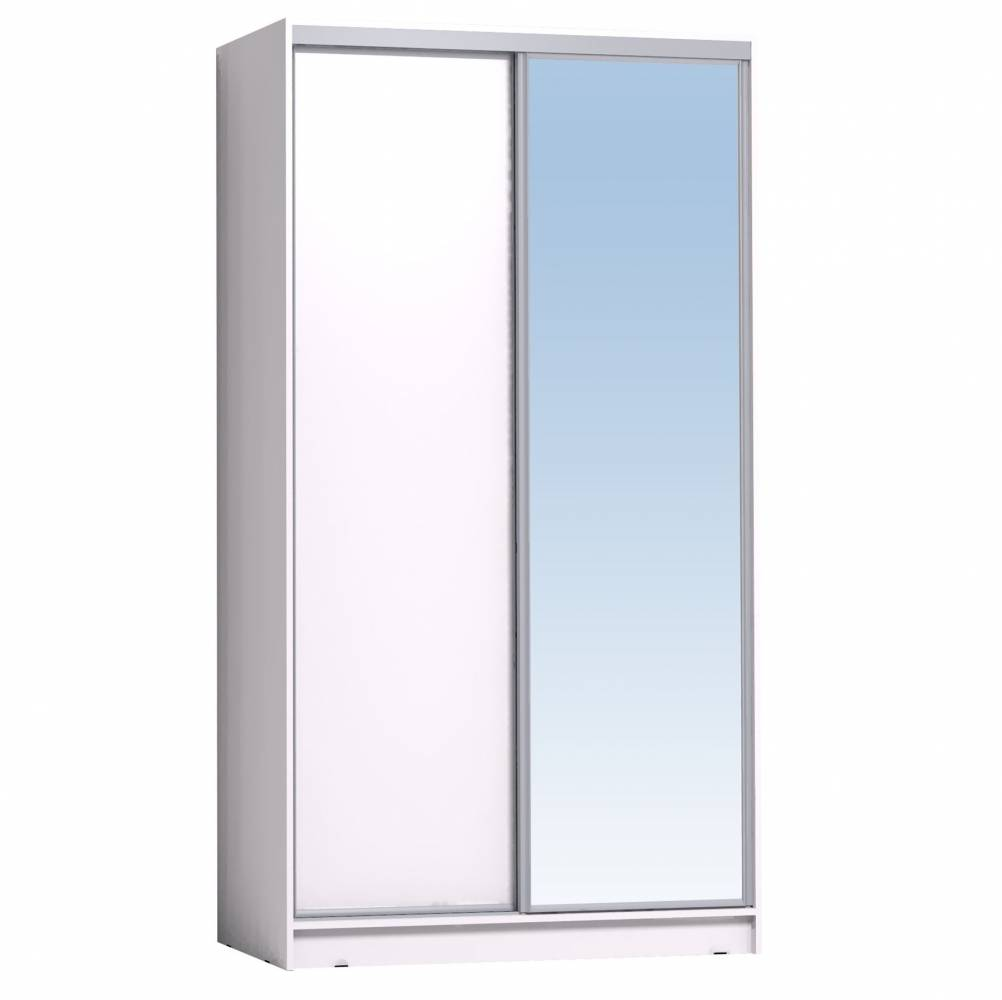 Шкаф-купе 1200 Домашний зеркало/лдсп,Белый