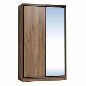 Шкаф-купе 1200 Домашний зеркало/лдсп, Дуб табачный Craft