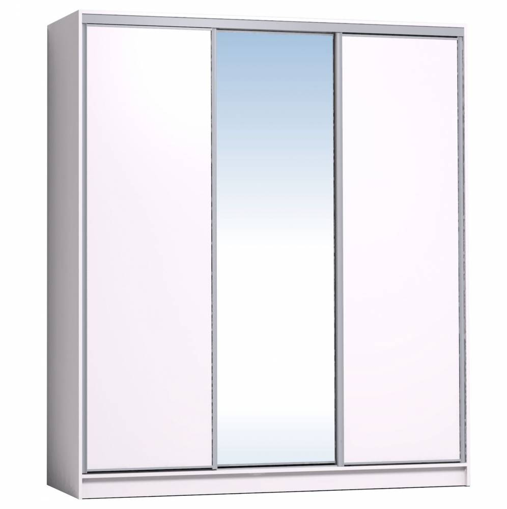 Шкаф-купе 2000 Домашний зеркало/лдсп + шлегель, Белый