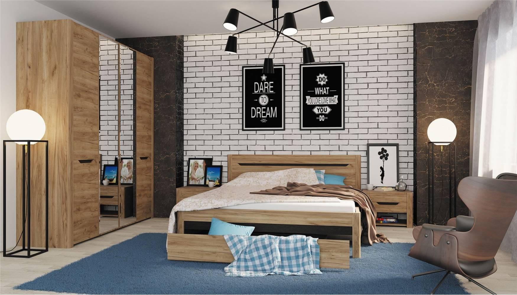 Спальня Афина (Дуб крафт). Комплект 2