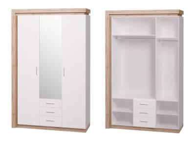 15 Шкаф 3-х дверный с зеркалом (3 ящика) Люмен