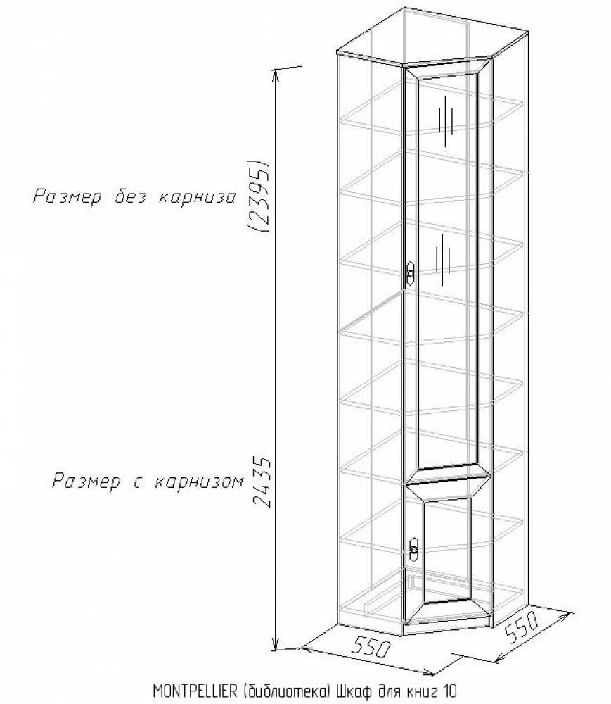 Шкаф для книг 10 MONTPELLIER, дуб