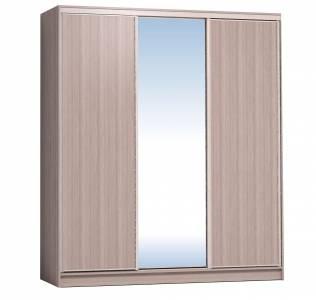 Шкаф-купе 2000 Домашний зеркало/лдсп + шлегель, Ясень шимо светлый