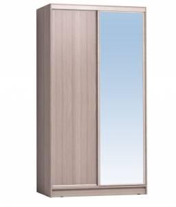Шкаф-купе 1200 Домашний зеркало/лдсп, Ясень шимо светлый