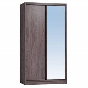 Шкаф-купе 1200 Домашний зеркало/лдсп, Ясень анкор темный