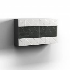 Шкаф навесной 2Д Монако, Графит/белый глянец 0673.28