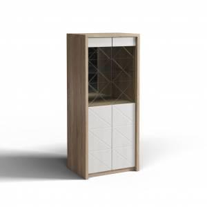 Шкаф с витриной 2Д Монако КМК 0673.5, дуб сонома/дуб полярный