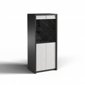 Шкаф с витриной 2Д Монако КМК 0673.5, графит/белый глянец