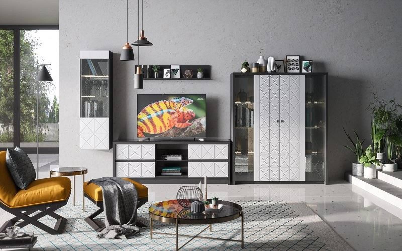 Гостиная Монако КМК 0673, графит/белый глянец, Комплект 5