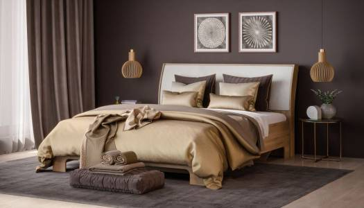 Кровать 1600-01 КМК 0685.1, дуб сонома/белый/бежевый