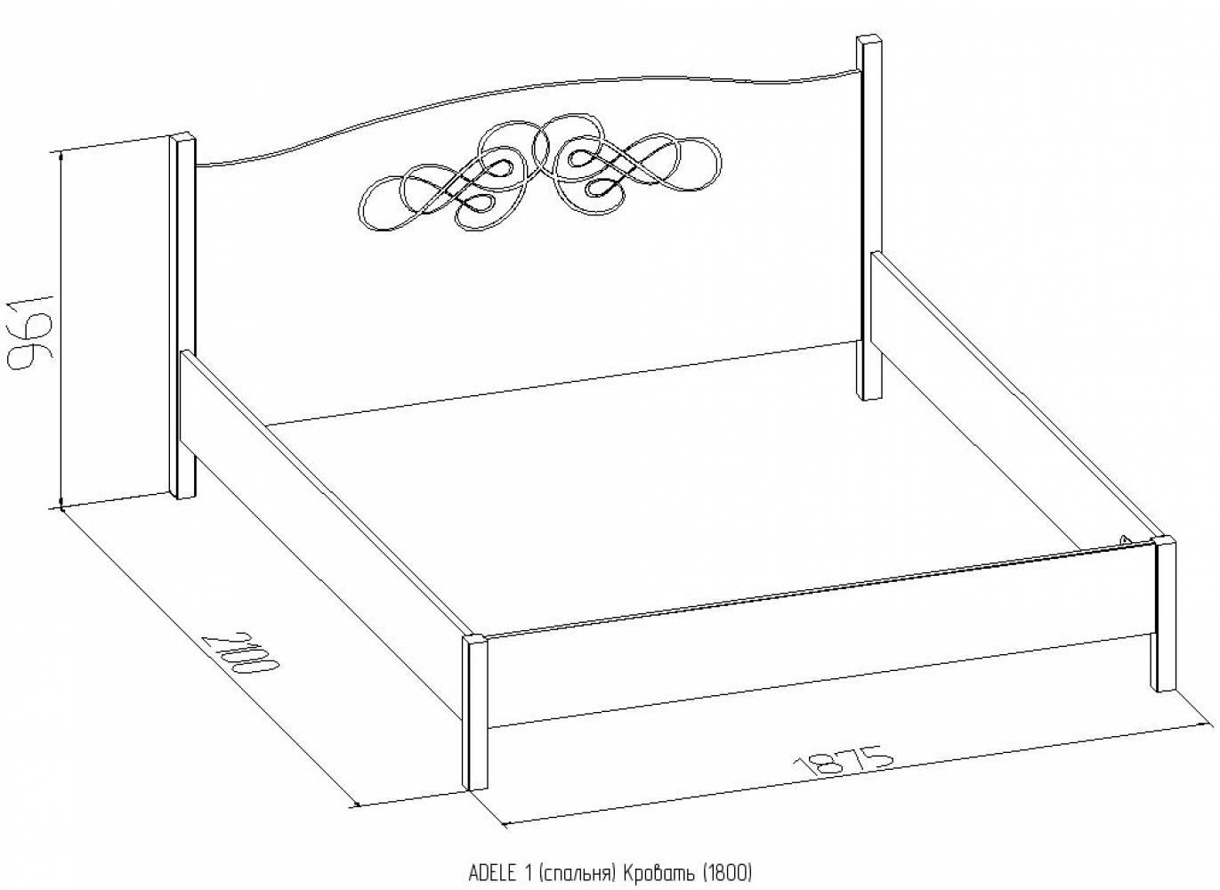 ADELE1 Кровать 180*200 без основания, без матраса, Ясень анкор светлый