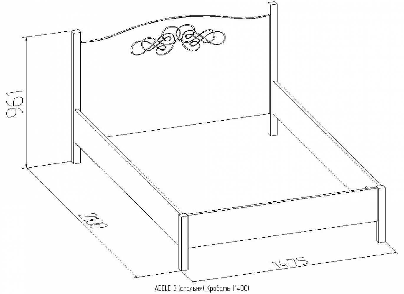ADELE3 Кровать 140*200 без основания, без матраса, ясень анкор светлый